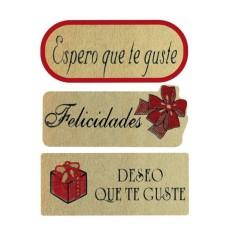 ETIQUETTES ASSORTIES ADHÉSIVES, (TEXTE EN ROUGE, en espagnol)