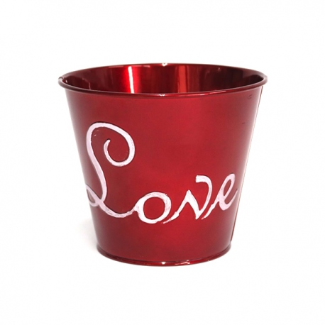 Florero Metal Love Rojo